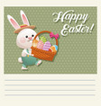 cartoon happy easter bunny basket egg vector image