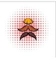 Mustache comics icon vector image