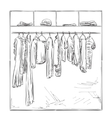 Hand drawn wardrobe Clothes sketch vector image