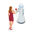artificial intelligence a robot gives a woman a vector image