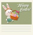 cartoon happy easter bunny basket egg vector image