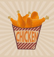 fried chicken legs on striped box retro poster vector image