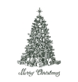 Hand drawn Christmas tree and gifts vector image