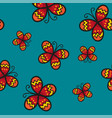 red butterfly on green teal background vector image