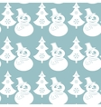 Seamless Christmas pattern with snowmans and trees vector image