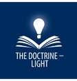 logo lamp illuminates book vector image