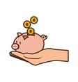 cartoon hand holding piggy coins money safe vector image
