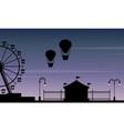 silhouette amusement park beauty scenery vector image