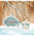 Vintage Christmas Snow Branch Lantern Background vector image vector image