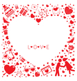 Love Icons Heart Shape Frame and Border vector image
