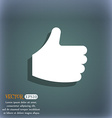 Like Thumb up icon symbol on the blue-green vector image