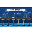 Modern bridge city night view vector image
