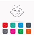Baby girl face icon Child with smile sign vector image