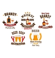 Bar icons set Beer whiskey brandy alcohol icons vector image