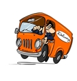 Cartoon bus with a driver The concept of delivery vector image