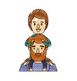 color crayon stripe caricature half body bearded vector image