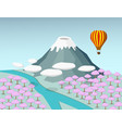 Fuji moutain and sakura forest in 3d vector image