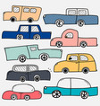 hand drawn cars set vector image