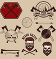 lumberjack emblems set vector image