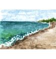 watercolor coast of sea vector image