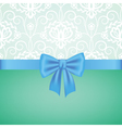 White guipure border with blue ribbon bow vector image
