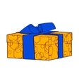 orange gift box present with bows and ribbons vector image