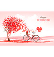 Valentine holiday background with heart shaped vector image