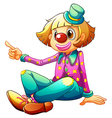 A clown sitting while pointing vector image vector image