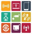 Wireless technology web icons set vector image