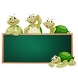 blackboard with turtles on the frame vector image