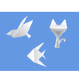 set origami dove cat fish vector image