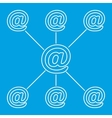 E-mail spreading line pictogram vector image