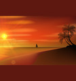 Classic old sailboat on a sunset vector image