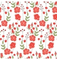 Seamless pattern with stylized cute red roses vector image vector image