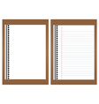 Blank white paper on brown board vector image
