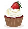 Cupcake with strawberry cream vector image