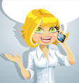 Cute blond girl talking on the phone vector image