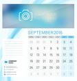 Desk Calendar for 2016 Year September Stationery vector image