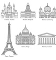 European landmarks line icons vector image