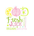 fresh juice natural product original design logo vector image