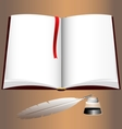 open book and writting pen vector image