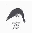Shrimp silhouette Seafood shop branding template vector image