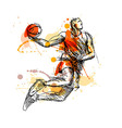 Colored hand sketch basketball player vector image