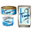 Tuna fish in three different packages vector image