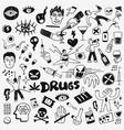 drugs doodles set vector image