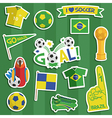 brazil soccer stickers vector image vector image