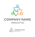 Contour Logo with United People Working Together vector image