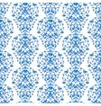 Blue floral elegant border in damask retro style vector image