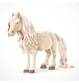 Cute white pony horse isolated on a white vector image