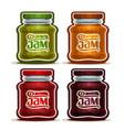 fruit jam in glass jars vector image